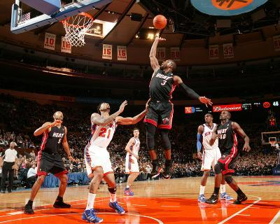 Miami Heat v New York Knicks: Dwyane Wade and Wilson Chandler