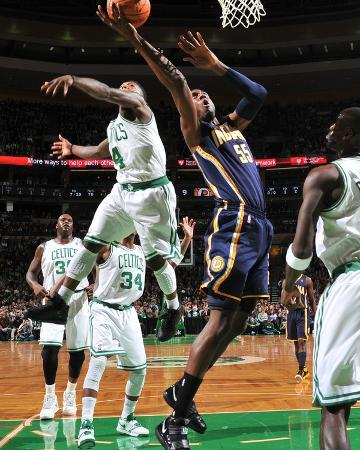 Indiana Pacers v Boston Celtics: Roy Hibbert and Nate Robinson
