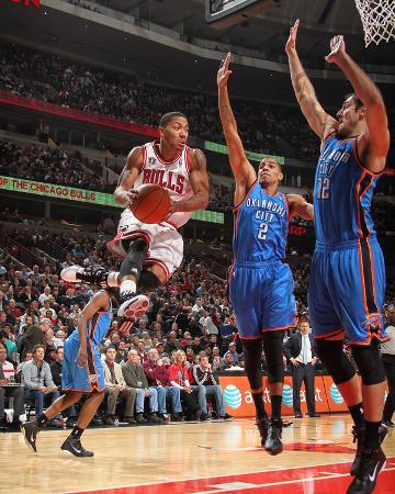 Oklahoma City Thunder v Chicago Bulls: Derrick Rose, Nenad Krstic and Thabo Sefolosha