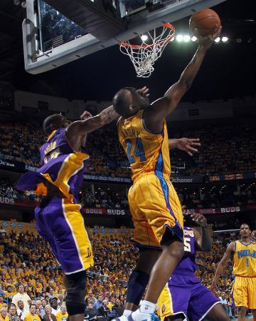 Los Angeles Lakers v New Orleans Hornets - Game Three, New Orleans, LA - APRIL 22: Carl Landry and