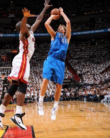 Dallas Mavericks v Miami Heat - Game One, Miami, FL - MAY 31: Dirk Nowitzki and Joel Anthony