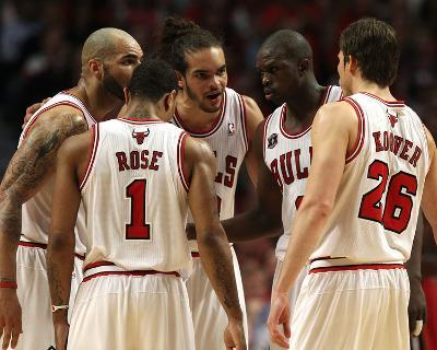 Miami Heat v Chicago Bulls - Game Two, Chicago, IL - MAY 18: Carlos Boozer, Derrick Rose, Luol Deng