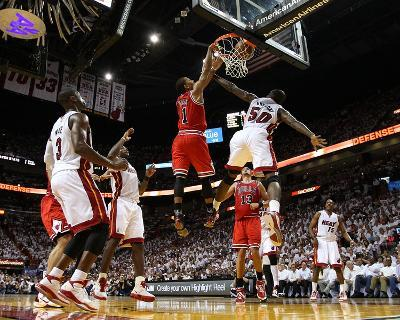 Chicago Bulls v Miami Heat - Game Four, Miami, FL - MAY 24: Derrick Rose, Joel Anthony and LeBron J