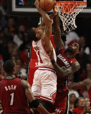 Miami Heat v Chicago Bulls - Game Two, Chicago, IL - MAY 18: Derrick Rose and LeBron James