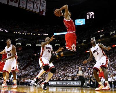 Chicago Bulls v Miami Heat - Game Four, Miami, FL - MAY 24: Derrick Rose, LeBron James, Mario Chalm