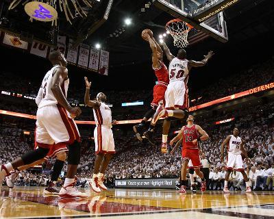 Chicago Bulls v Miami Heat - Game Four, Miami, FL - MAY 24: Derrick Rose, Joel Anthony, LeBron Jame