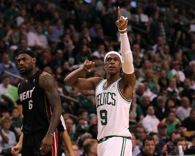 Boston, MA - June 03: Rajon Rondo and LeBron James