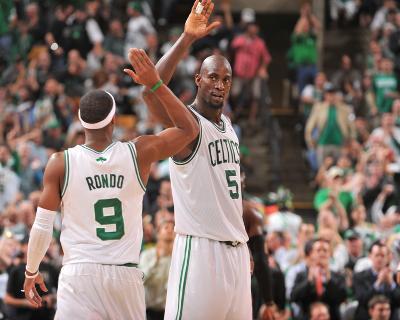 Boston, MA - June 3: Kevin Garnett and Rajon Rondo