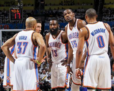 Oklahoma City, OK - June 6: Derek Fisher, Nick Collison, James Harden, Kevin Durant and Russell Wes