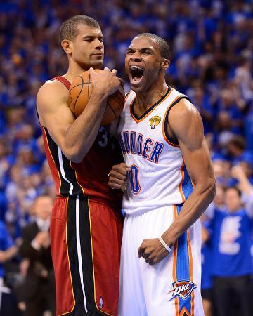 Oklahoma City, OK - June 12: Russell Westbrook and Shane Battier