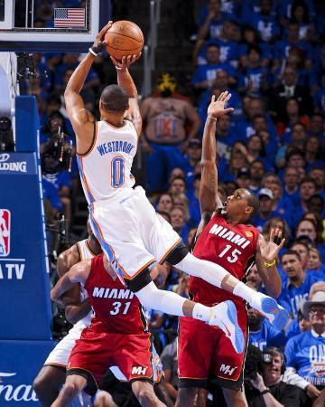 Oklahoma City, OK - June 12: Russell Westbrook and Mario Chalmers