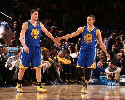 Feb 28, 2014, Golden State Warriors vs New York Knicks - Klay Thompson, Stephen Curry