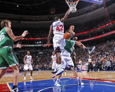 Boston Celtics v Philadelphia 76ers: Ray Allen, Semih Erden and Elton Brand