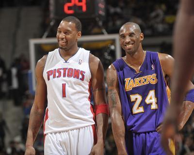 Los Angeles Lakers v Detroit Pistons: Tracy McGrady and Kobe Bryant