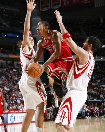 Chicago Bulls v Houston Rockets: Derrick Rose, Brad Miller and Luis Scola