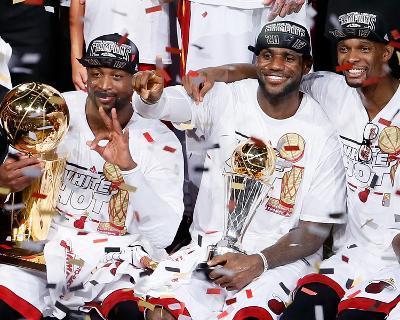 Miami, FL - June 20: Dwyane Wade, LeBron James and Chris Bosh