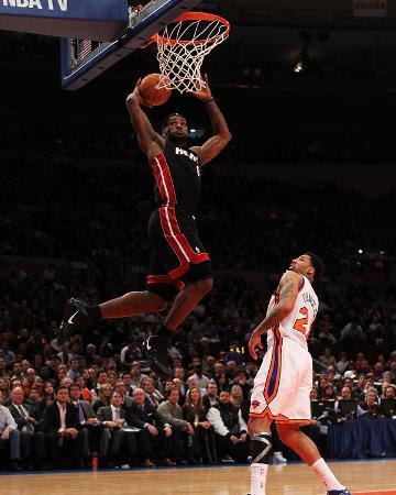 Miami Heat v New York Knicks: LeBron James and Wilson Chandler
