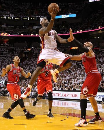 Chicago Bulls v Miami Heat - Game Three, Miami, FL - MAY 22: LeBron James, Derrick Rose and Carlos