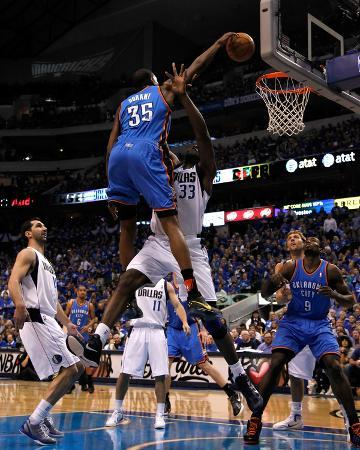Oklahoma City Thunder v Dallas Mavericks - Game Two, Dallas, TX - MAY 19: Kevin Durant and Brendan
