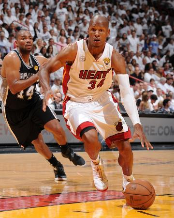 Miami, FL - JUNE 6 Ray Allen and Gary Neal