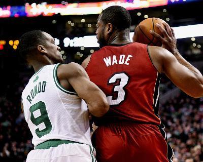 Mar 19, 2014, Miami Heat vs Boston Celtics - Rajon Rondo, Dwayne Wade