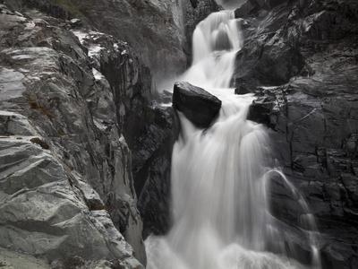 A Creek Rages Through a Narrow Bedrock Canyon Above Portage Lake, Chugach State Park, Alaska.