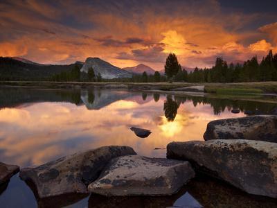 Yosemite National Park, California: Sunset Light on Tuolumne River and Meadows