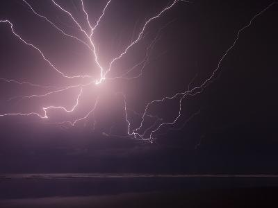An Incredibly Strong, and Powerful Lightning Storm Caught over the Pacific Ocean of El Salvador.