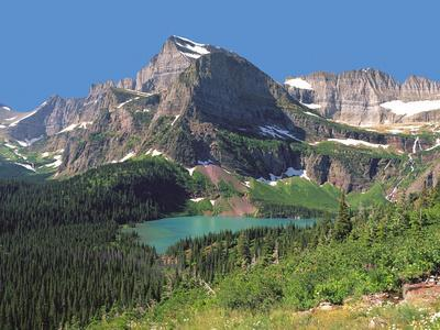 Grinnel Lake Below Mt Gould in Glacier National Park, Montana