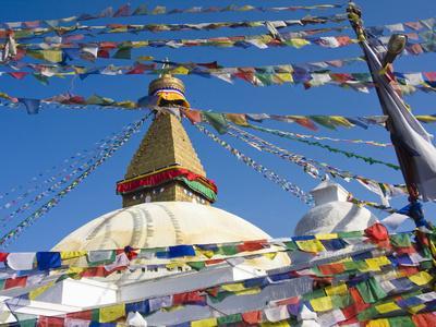Boudhanath Stupa and Prayer Flags, Kathmandu, Nepal.