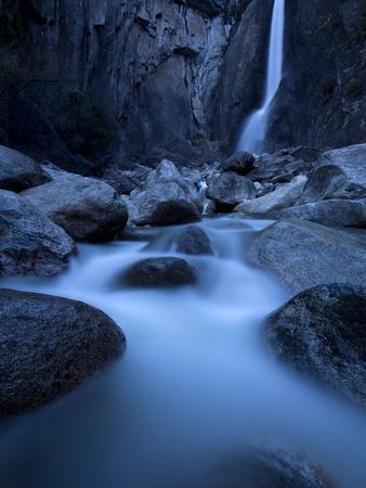 Yosemite National Park, California: Lower Yosemite Falls under Moonlight.