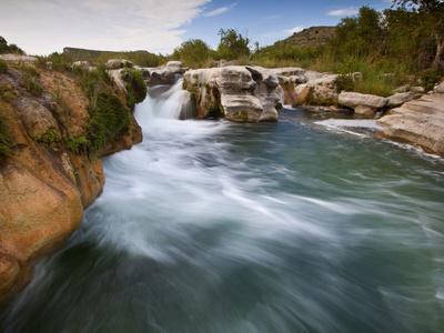 Dolan Falls Preserve, Texas:  Horizontal Landscape of the Dolan Falls During Sunset.
