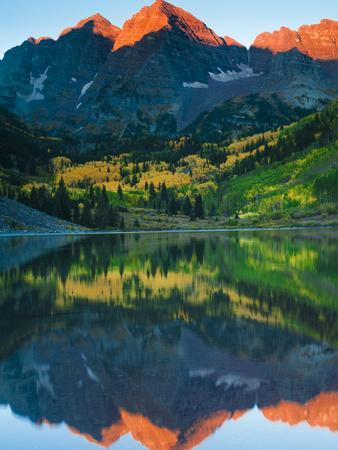 Maroon Bells Just as the Sun Was Rising