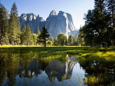 A Calm Reflection of the Cathedral Spires in Yosemite Valley in Yosemite, California