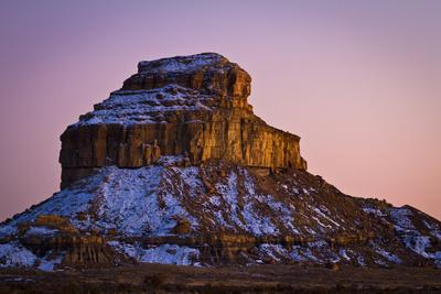 Fajada Butte Glows in the Soft Colors of Dusk at Chaco Culture National Historic Park, New Mexico
