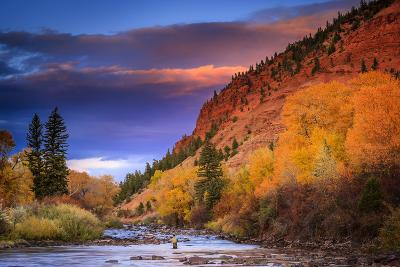 Brennen Fitzgerald Fishes in the Eagle River Near Wolcott Colorado at Sunset