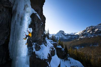 Male Alpine Legend Climber Climbing Hyalite Classic the Scepter (Wi5) in Montana
