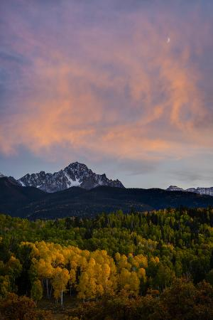 The Moon and Clouds at Sunset over Mt. Sneffels Near Ridgway, Colorado