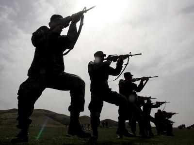 Georgian Soldiers Train with the New Us M4 Rifles at the Vaziani Training Ground 20Km from Tbilisi