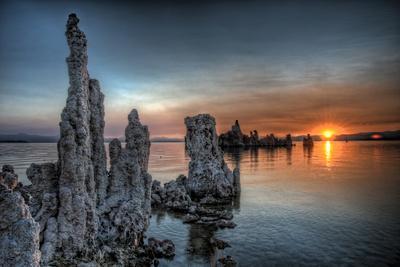 Mono Lake, California: Tufa's Rising from the Water During a Glowing Sunrise