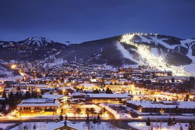 Winter Cityscape of Park City Mountain Resort and Deer Valley Resort, Utah