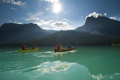 Two Couples Canoeing on Emerald Lake, California