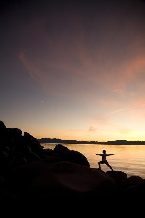 Young Woman Doing Yoga at Lake Tahoe, California