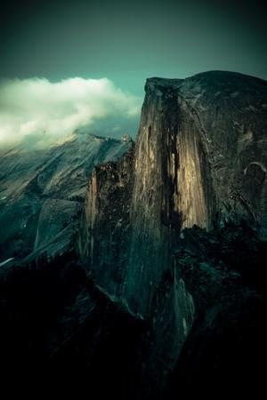 Yosemite National Park, California: Sunset Falls and Lights Up the Wall on Half Dome