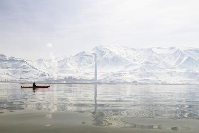 A Young Woman Kayaking in the Great Salt Lake