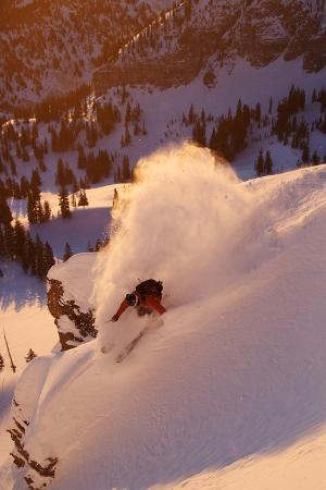 A Talented Skier Skies Down the Mountain at Alta Backcountry, Utah