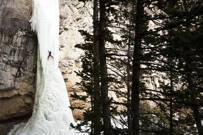 Doug Shepherd Climbing the 6th Pitch of Broken Hearts, (Wi5), Cody, Wyoming
