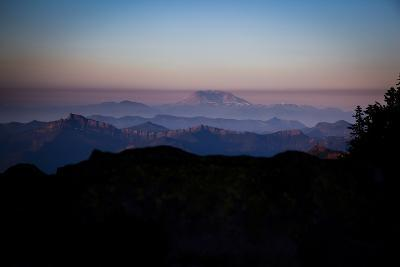 Sunset with Mount Saint Helens on the Horizon, Mount Rainier National Park, Washington