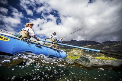 Two Male Anglers Casting a Streamer on the Rio Grande River in Patagonia, Argentina