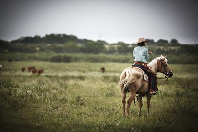 A Young Woman Oversees the Cattle on Hoffman Ranch Near Alice, Texas